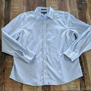 Lands' End No Iron Pinpoint Oxford Shirt Size 14